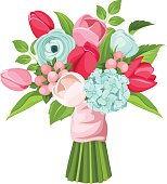 Bouquet of red, pink and blue flowers. Vector illustration.