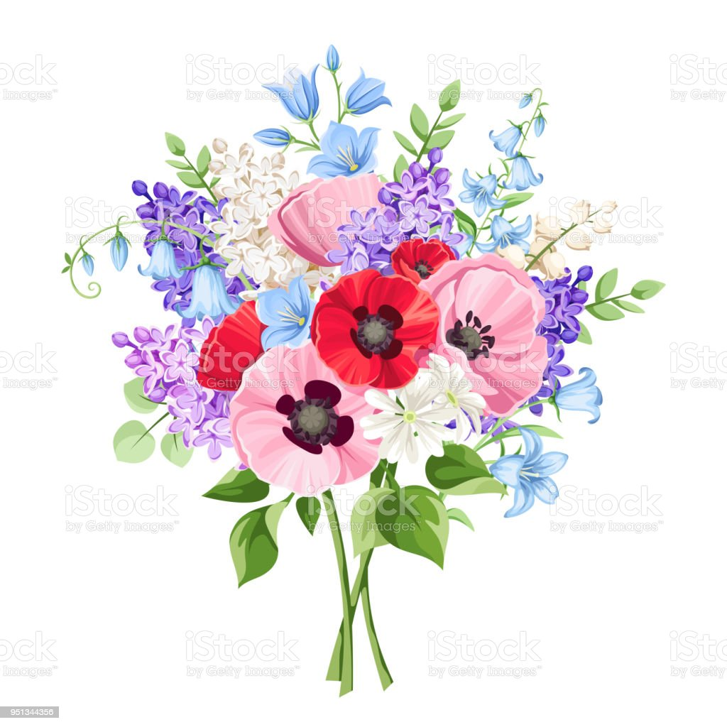 Bouquet of red pink and purple flowers vector illustration stock bouquet of red pink and purple flowers vector illustration royalty free bouquet izmirmasajfo