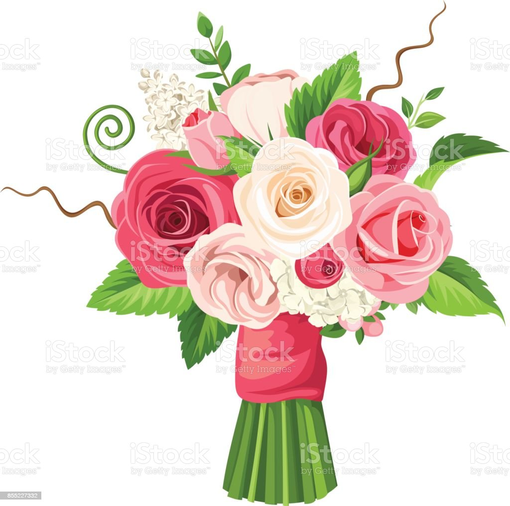 Bouquet of red pink and white flowers vector illustration stock bouquet of red pink and white flowers vector illustration royalty free bouquet izmirmasajfo