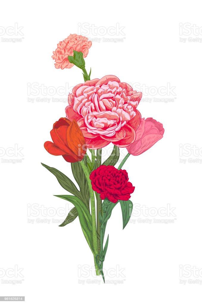 pfingstrose zeichnen blumen zeichnung, bouquet von roten rosa gelben blumen nelke pfingstrose tulpe grüne, Design ideen
