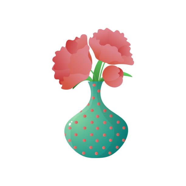 흰색 배경에 고립 된 점선 꽃병에 빨간 양귀비의 꽃다발 - 꽃밥 stock illustrations