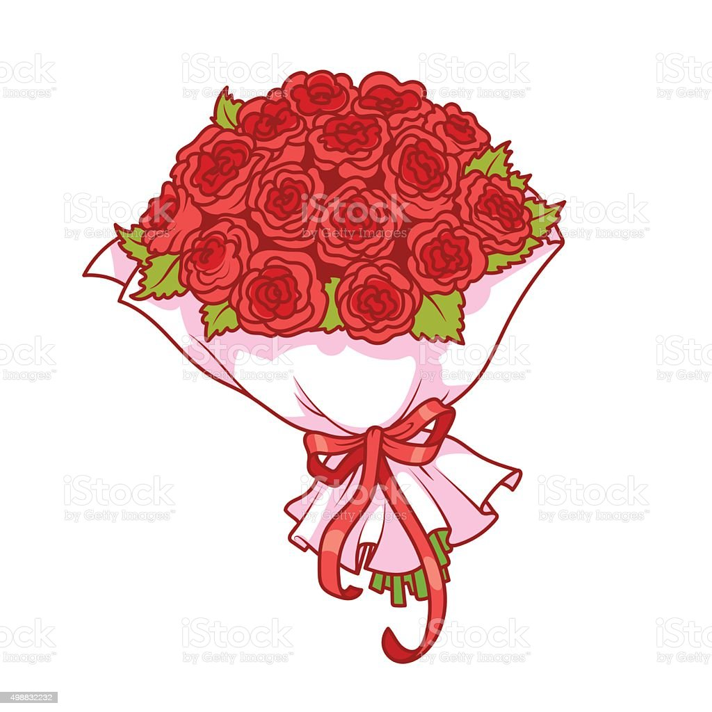 Bouquet of red roses isolated on white background. vector art illustration