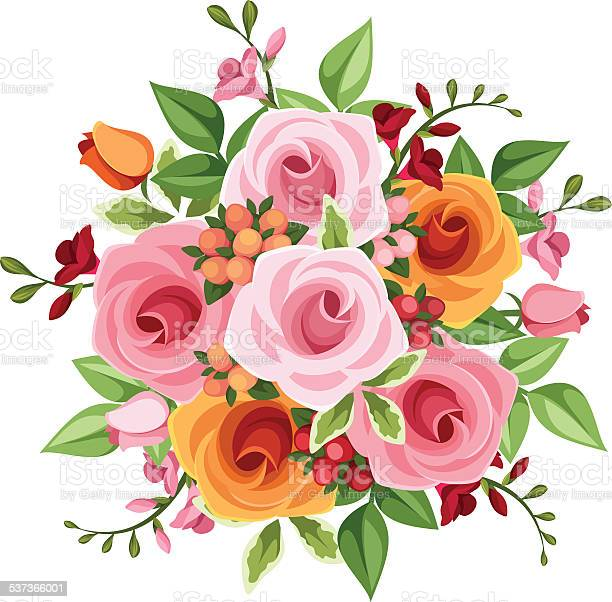 Bouquet of roses and freesia flowers vector illustration vector id537366001?b=1&k=6&m=537366001&s=612x612&h=bgcbprkg2c4vxpa4fzycgapdznkke3ce2fmdq3ylr2k=