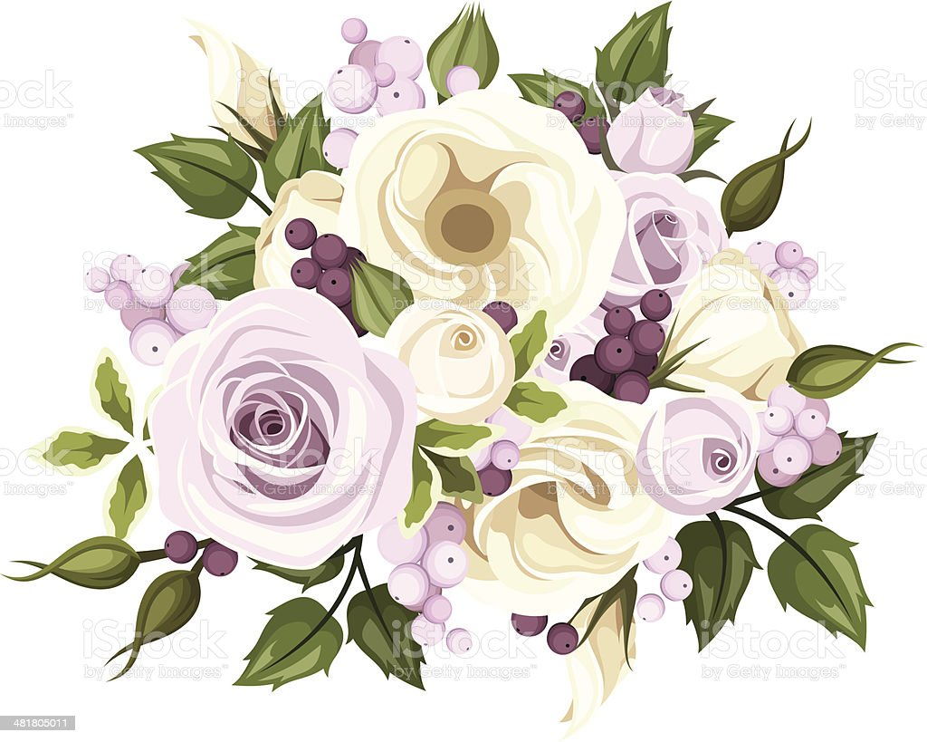 Bouquet Of Roses And Lisianthus Flowers Vector Illustration Stock