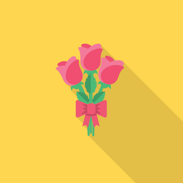 Bouquet Of Roses Celebration Icon With Shadow vector art illustration
