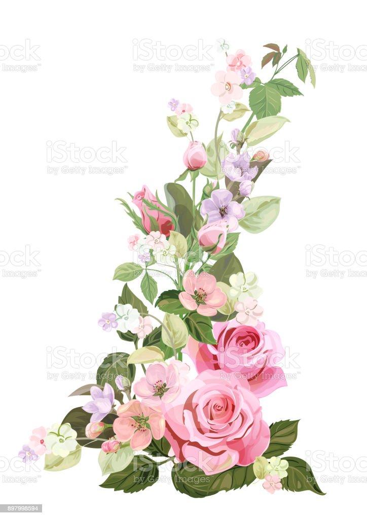 Ilustración de Ramo De Rosas Flor De Primavera Frontera Vertical Con ...