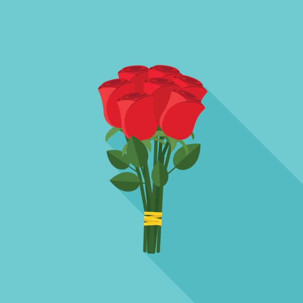Bouquet of roses Bouquet of roses in flat style. Vector banner of red roses with long shadow. bunch stock illustrations