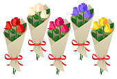 Five bouquets of fresh roses in different colors, isolated on a white background.