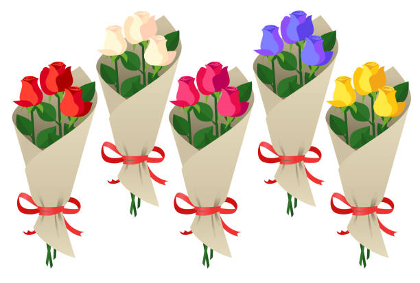 Bouquet of roses Five bouquets of fresh roses in different colors, isolated on a white background. bunch stock illustrations
