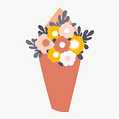 Bouquet of spring flowers wrapped in paper. Vector illustrtion isolated from background