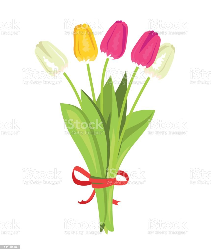 Bouquet of tulips vector art illustration