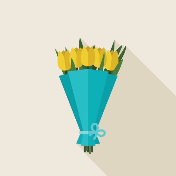 Bouquet of tulips Bouquet of tulips in flat style. Vector banner with yellow tulips flowers. bunch stock illustrations