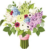 Bouquet of various flowers. Vector eps-10.