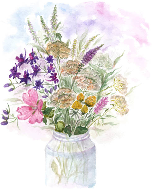 bildbanksillustrationer, clip art samt tecknat material och ikoner med bouquet of watercolor colorful wildflowers in glass vase - flower bouquet blue and white