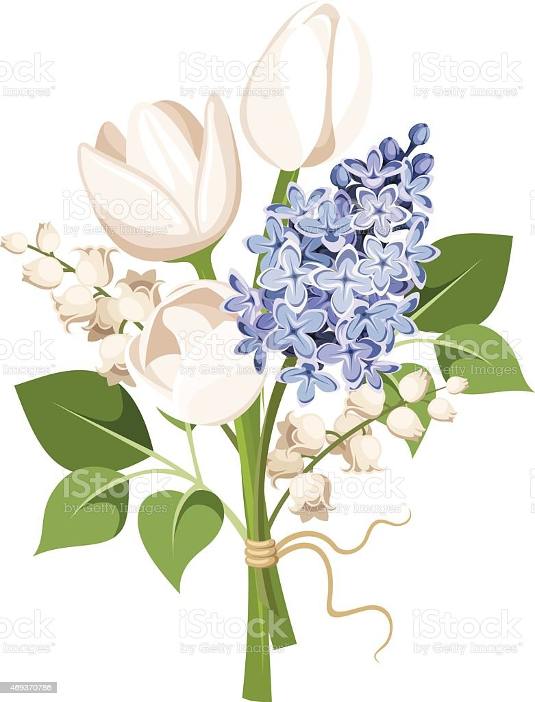 Bouquet of white tulips blue lilac flowers and lilyofthevalley bouquet of white tulips blue lilac flowers and lily of the valley izmirmasajfo Images