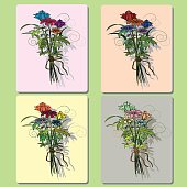 Bouquet of wild flowers greeting card with frame