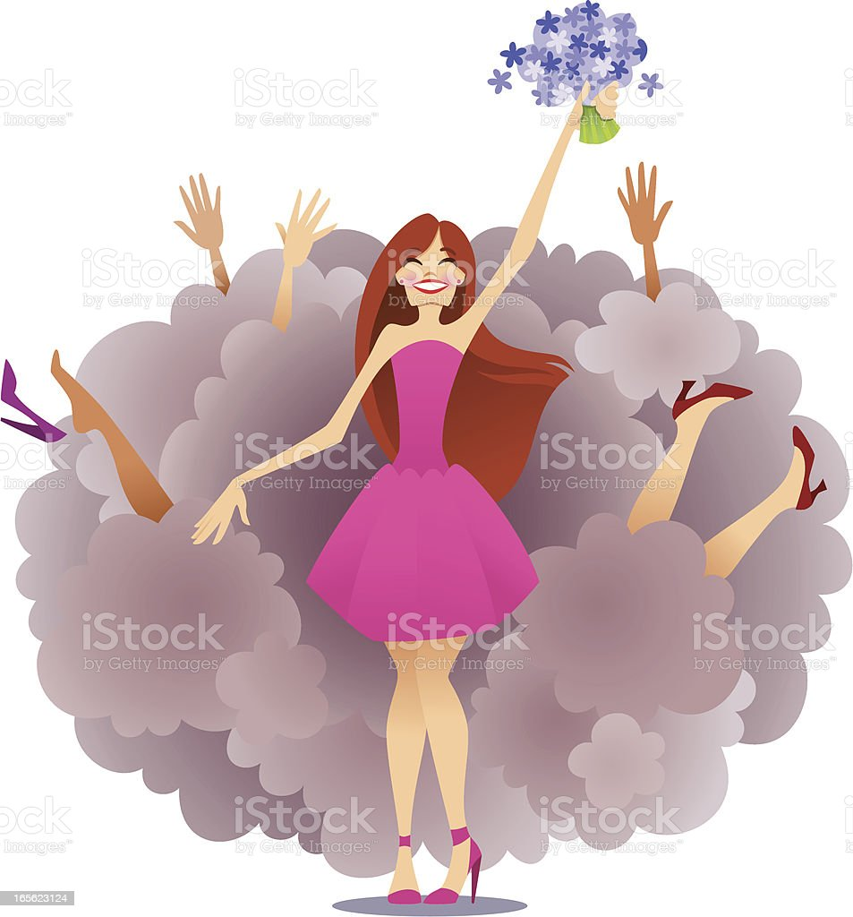 Bouquet Toss royalty-free bouquet toss stock vector art & more images of 20-29 years