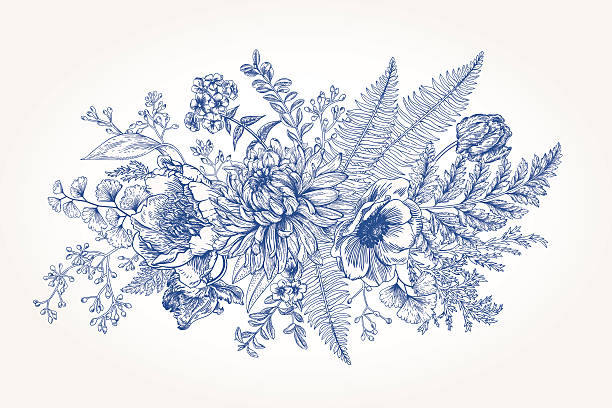Line Drawing Of Flowers Clipart : Royalty free floral pattern clip art vector images & illustrations