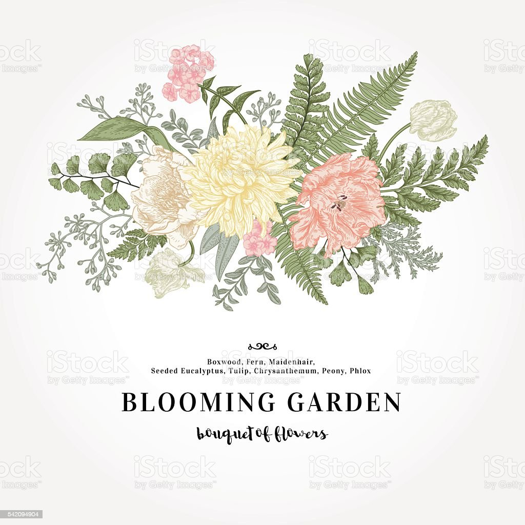Bouquet with a garden with flowers. vector art illustration