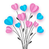 istock Bouquet with branch and pink and blue hearts. 1196065804
