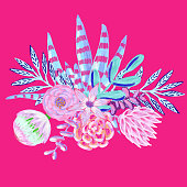 Bouquet with Hand Drawn Leaves, Flowers and Succulents Isolated on Pink Background. Oil, Acrylic Painting Floral Pattern. Design Element for Greeting Cards and  Wedding, Birthday and other Holiday and Summer Invitation Cards Background.