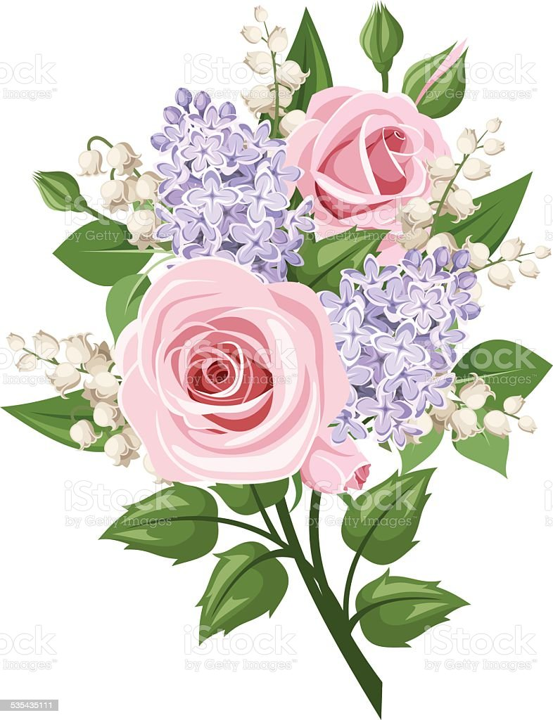 Bouquet With Pink Roses Lilyofthevalley And Lilac Flowers Vector ...