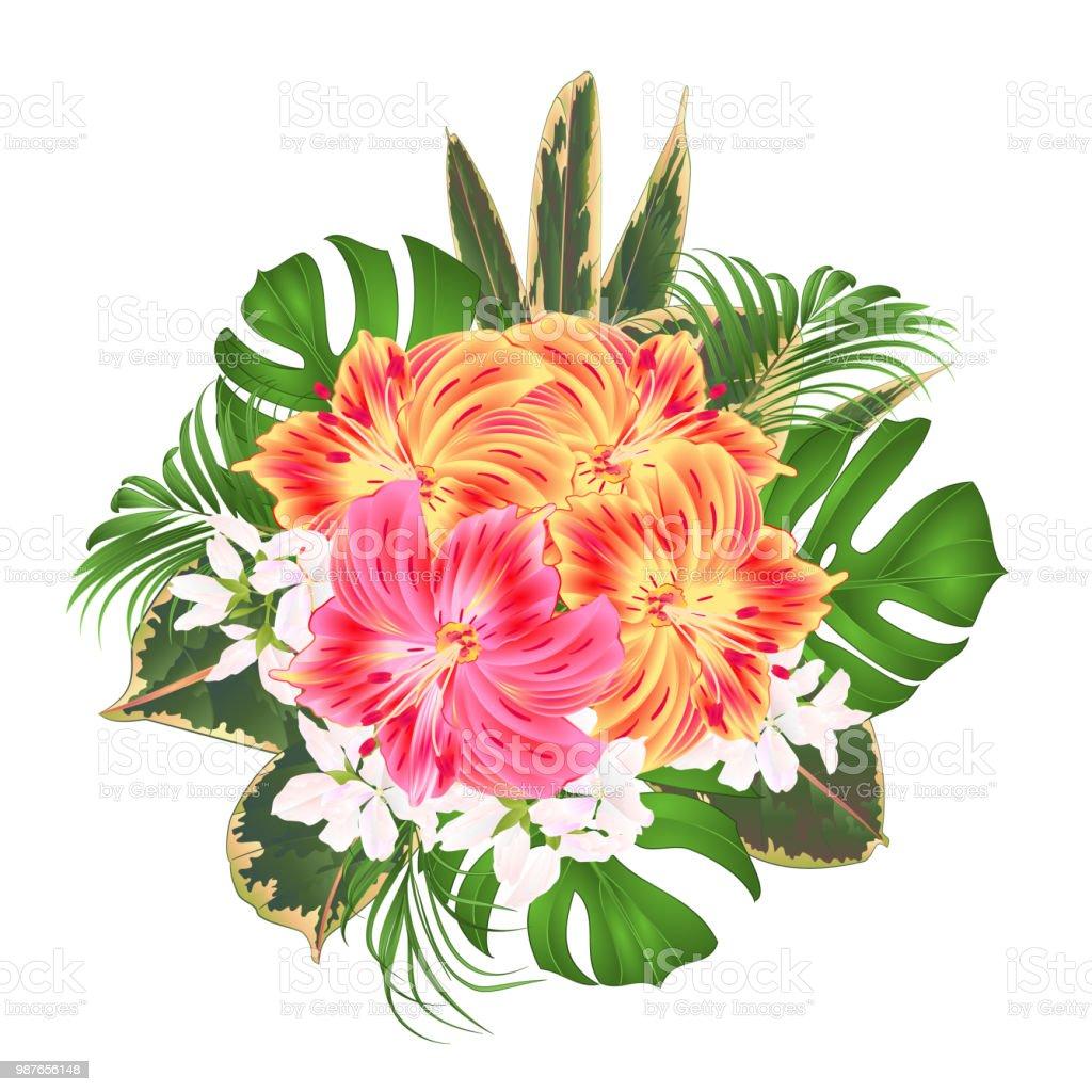 Ramo tropical flores arreglo floral, con hermoso color amarillo y rosa Lily Alstroemeria, Palma, philodendron y ficus en una ilustración de vector vintage fondo blanco - ilustración de arte vectorial