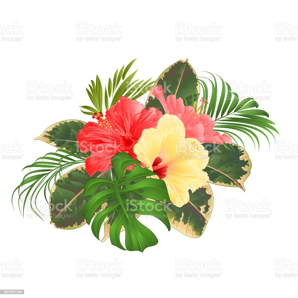 Bouquet With Tropical Flowers Hawaiian Style Floral Arrangement With