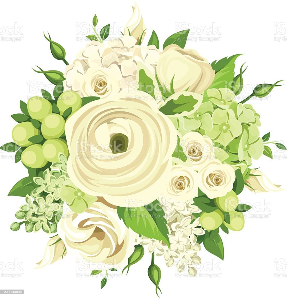 Bouquet with white and green flowers vector illustration stock bouquet with white and green flowers vector illustration royalty free bouquet with white mightylinksfo Images