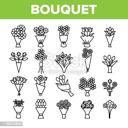 Bouquets, Bunches Of Flowers Vector Icons Set. International Womens Day, Birthday, Romantic Present. Natural, Traditional Gift For Girls, Women, Ladies. Roses, Tulips, Daisies Thin Line Illustration