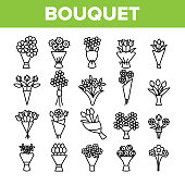 Bouquets, Bunches Of Flowers Vector Icons Set