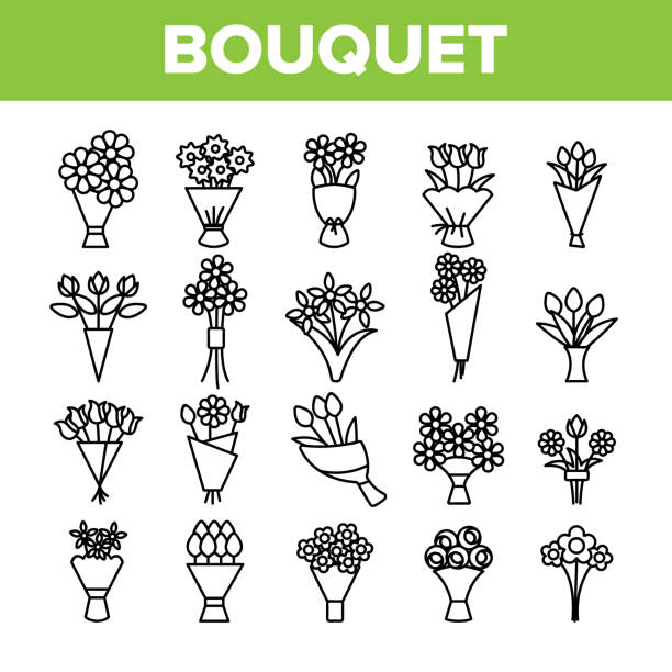 Bouquets, Bunches Of Flowers Vector Icons Set Bouquets, Bunches Of Flowers Vector Icons Set. International Womens Day, Birthday, Romantic Present. Natural, Traditional Gift For Girls, Women, Ladies. Roses, Tulips, Daisies Thin Line Illustration blossom stock illustrations