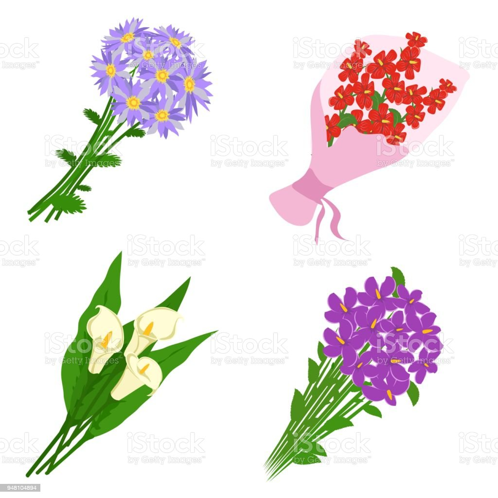 Bouquets Flowers Set Isolated On White Background Bunch Of Flowers