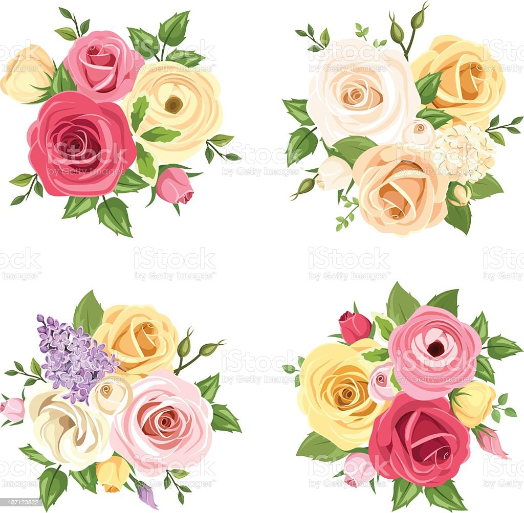 Bouquets Of Colorful Flowers Vector Set Of Four Illustrations Stock ...