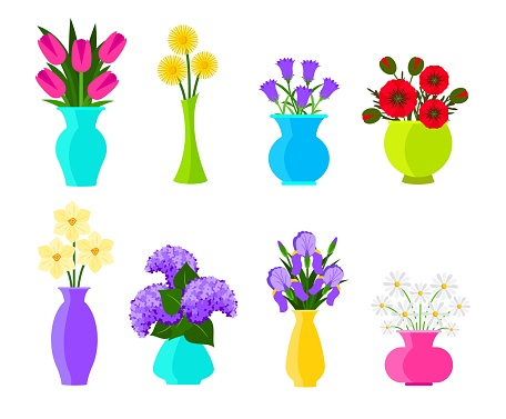 Bouquets of flowers in vases in flat style. Summer and spring flowers set. Vector flowers illustration isolated on white background