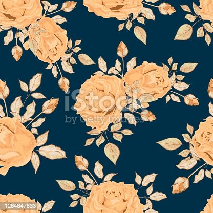 istock Bouquets of flowers. Roses and leaves. Vintage seamless pattern. Design for wallpaper and fabric in pastel colors. 1284847633