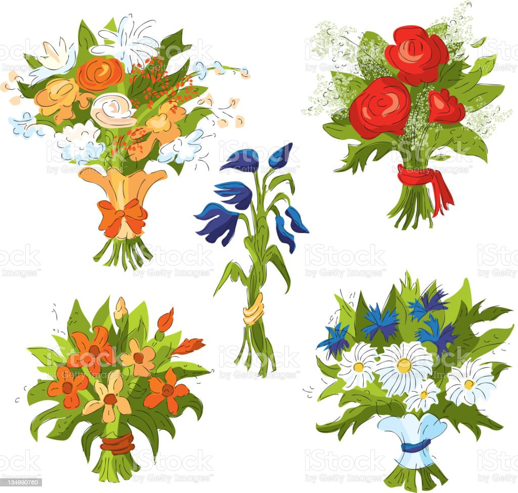 Bouquets of flowers royalty-free stock vector art