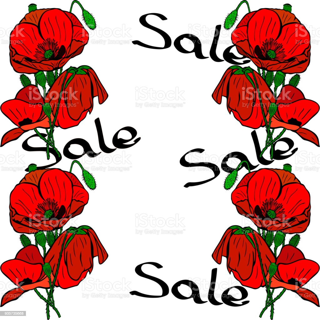 Bouquets of red poppies and inscription sale stock vector art more bouquets of red poppies and inscription sale royalty free bouquets of red poppies and inscription mightylinksfo