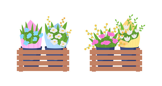 Bouquets on shelves flat color vector object set