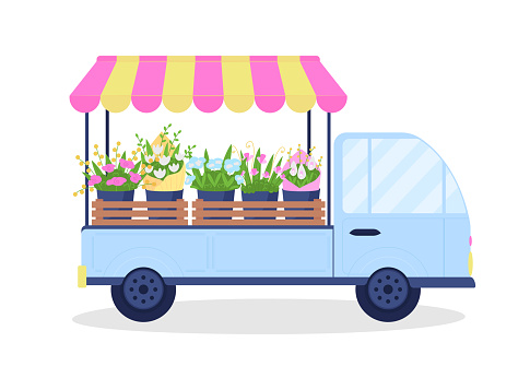 Bouquets on van flat color vector object