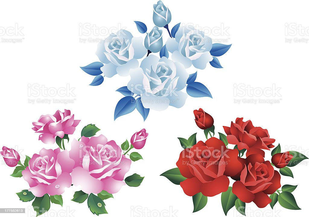 Bouquets with  roses vector art illustration