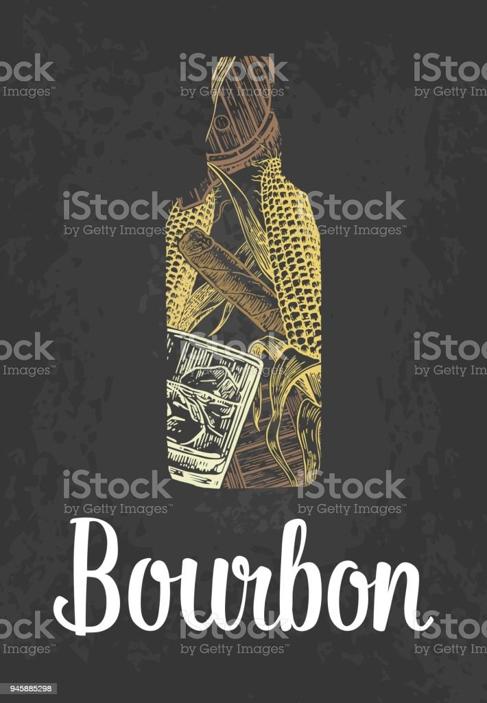 Bourbon bottle with glass, ice cubes, barrel, cigar. Color hand drawn sketch on vintage black background. Vector engraved illustration. vector art illustration