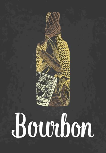 Bourbon bottle with glass, ice cubes, barrel, cigar. Color hand drawn sketch on vintage black background. Vector engraved illustration. vector art illustration
