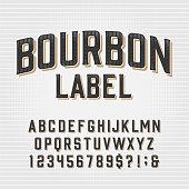 istock Bourbon Label alphabet font. Scratched vintage letters, numbers and symbols. 1268019894