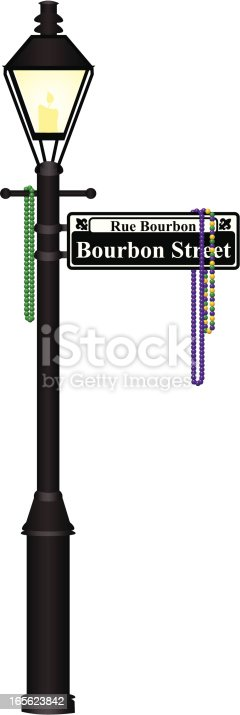 A vector illustration of a lamp post with the Bourbon Street sign and Mardi Gras beads. Text on sign can be easily removed. Files included: AI12, AI10, EPS8 and High Res JPG.