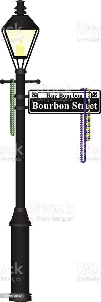 Bourbon Street Lamp Post vector art illustration