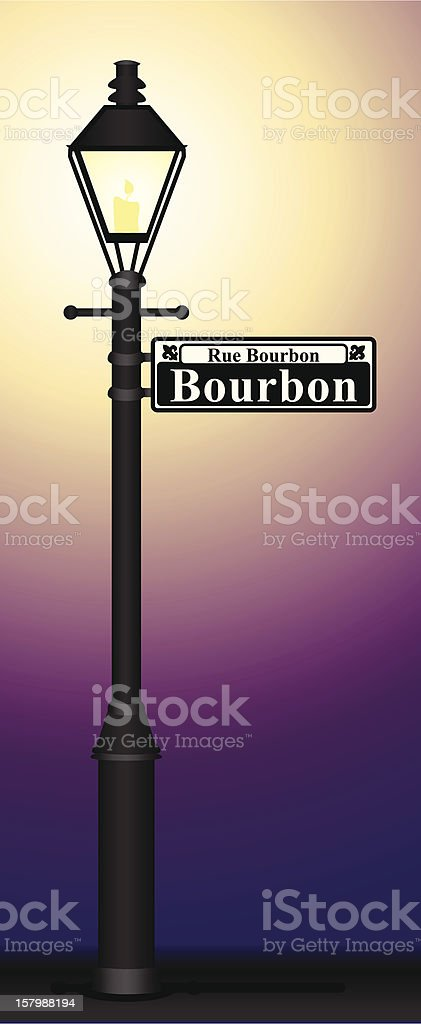 Bourbon Street Sign Glowing royalty-free stock vector art