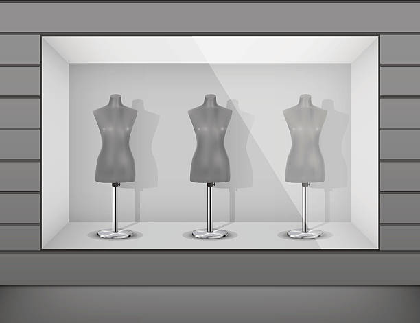 illustrations, cliparts, dessins animés et icônes de affichage de la fenêtre de la boutique avec des mannequins - vitrine magasin