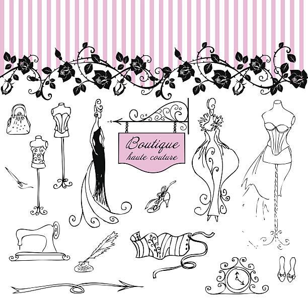 Boutique haute couture and  Dressmakin vector art illustration