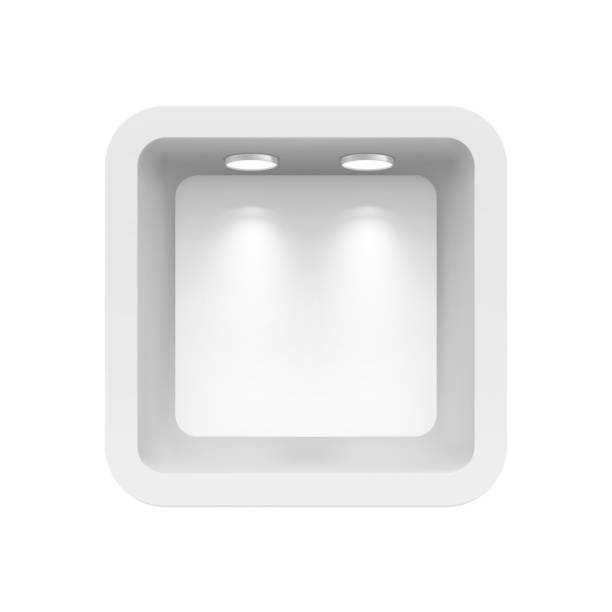 boutique in der oberen wand mit lichtquellen. abbildung isoliert auf weißem hintergrund - lampenshop stock-grafiken, -clipart, -cartoons und -symbole
